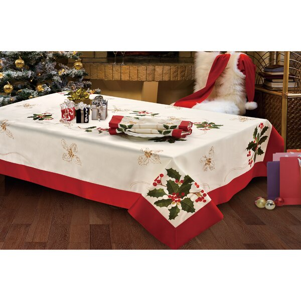Holiday Holly Berries Embroidered Tablecloth by Wi