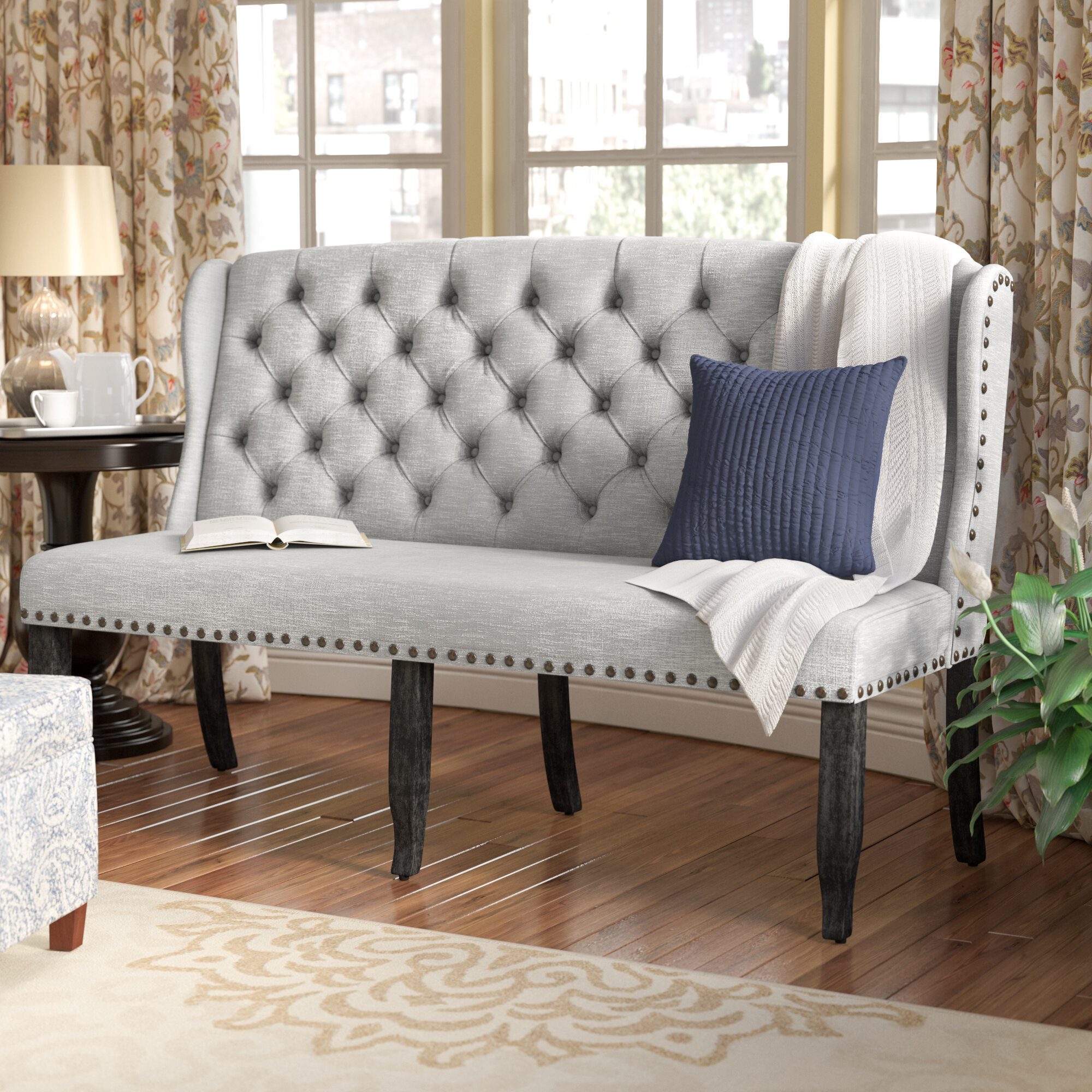 Outstanding Three Posts Yarmouth Upholstered Bench Reviews Wayfair Bralicious Painted Fabric Chair Ideas Braliciousco