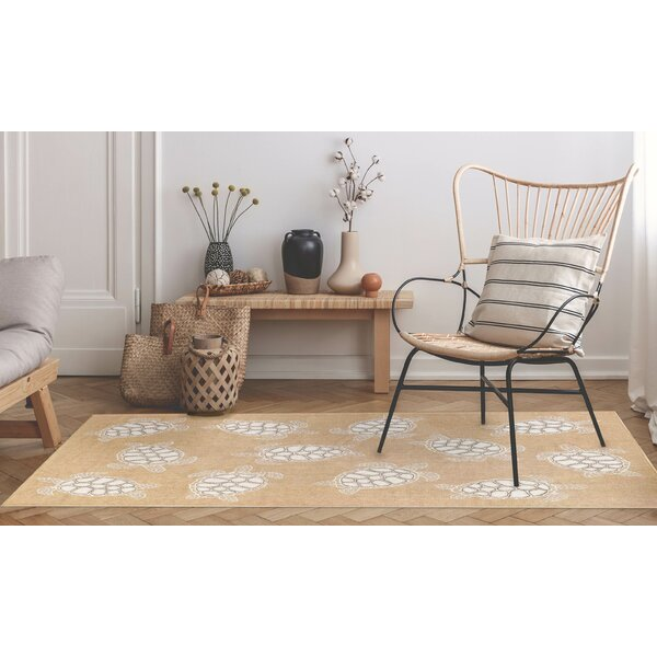 Desantiago Seaturtles Sand/White Indoor/Outdoor Area Rug by Highland Dunes