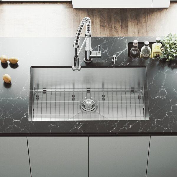 Alma 32 L x 19 W Undermount Kitchen Sink with Faucet, Grid, Strainer and Soap Dispenser by VIGO