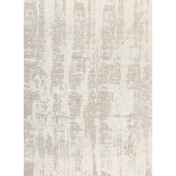 Windsom Abstract Hand-Knotted Ivory/Silver Area Rug