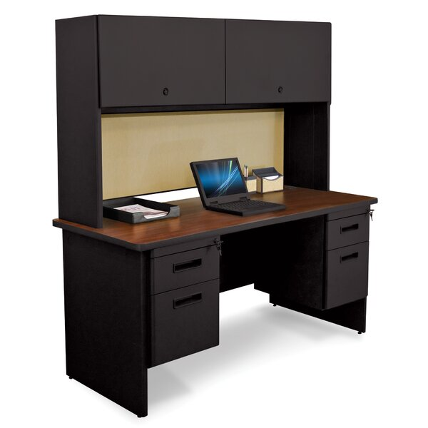 Pronto Double File and Flipper Door Cabinet Computer Desk with Hutch by Marvel Office Furniture