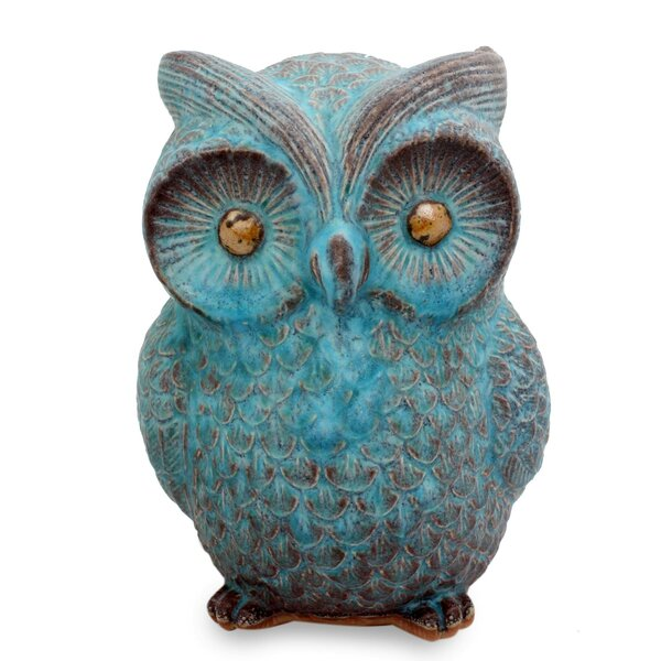 Wise Owl Ceramic Figurine by Novica