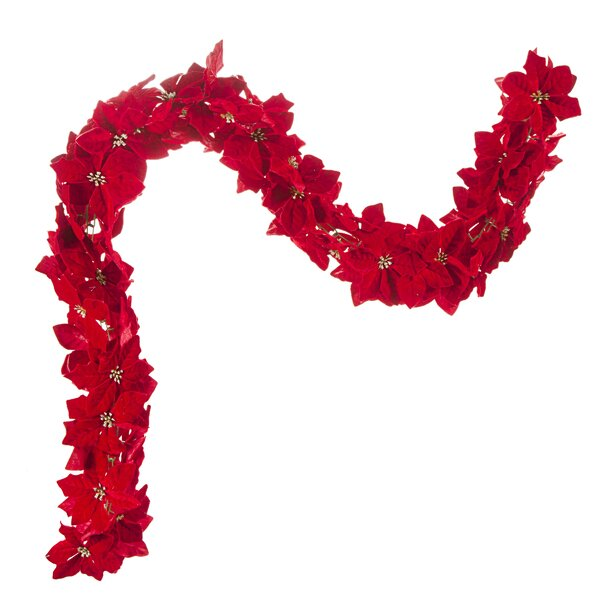 Velvet Poinsettia Chain Holiday Garland by The Holiday Aisle