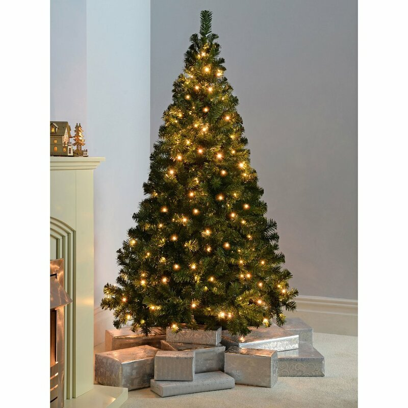 Multi-Function 6ft Green Spruce Artificial Christmas Tree with 200 Clear/White lights with Stand