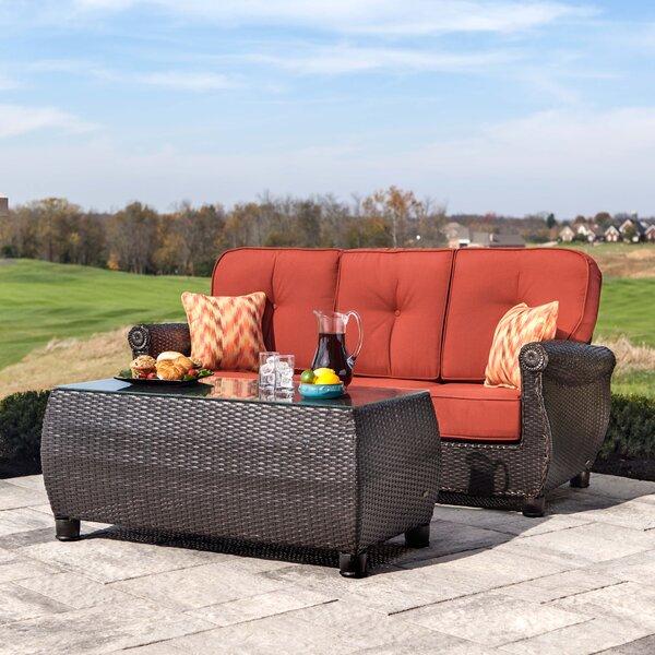 Breckenridge 2 Piece Rattan Sunbrella Sofa Seating Group with Cushions by La-Z-Boy Outdoor