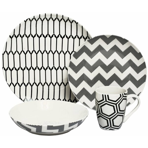 Impressions Coupe Porcelain 16 Piece Dinnerware Set, Service for 4 by Melange