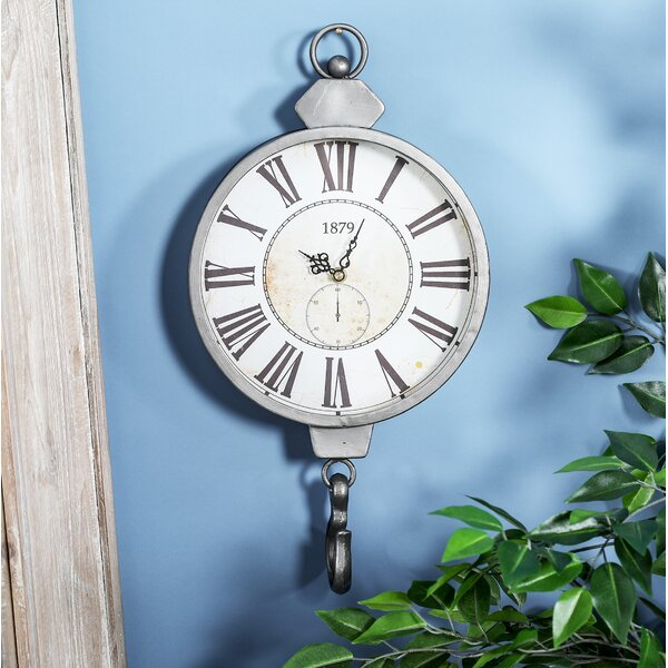 Burgett Rustic Vintage Wall Clock with Hook by Alcott Hill