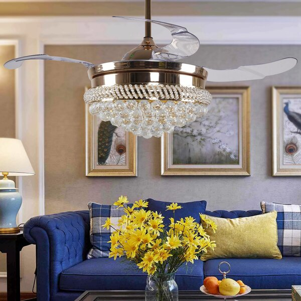 42 Bruce 4 Blade LED Ceiling Fan with Remote by House of Hampton