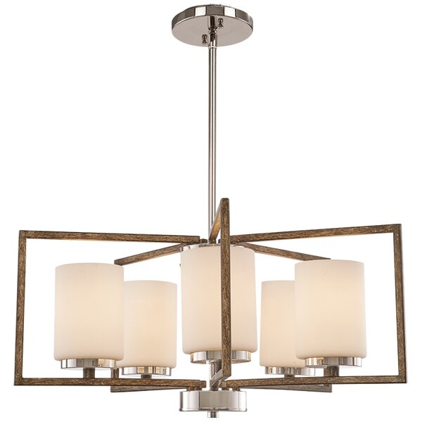Mabie 5 - Light Shaded Square / Rectangle Chandelier by Union Rustic Union Rustic