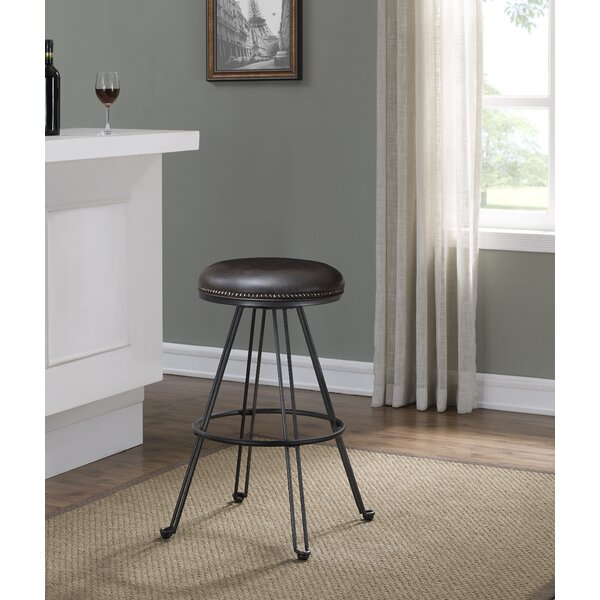 Mandie Backless Swivel Round Bar Stool by Williston Forge