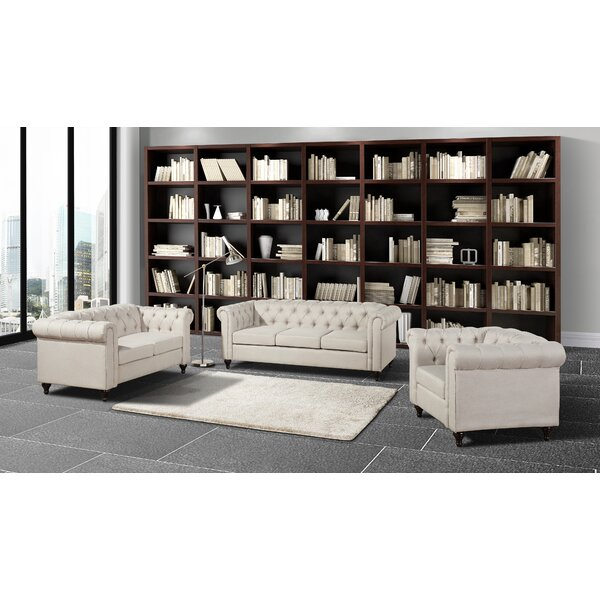 Niangua Chesterfield 3 Piece Standard Living Room Set by House of Hampton