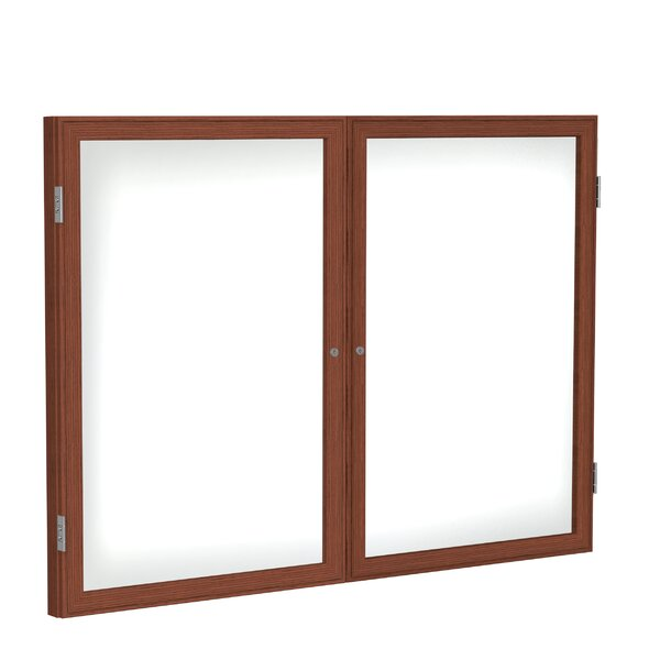 Ghent 2 Door Enclosed Porcelain Magnetic Whiteboard with  Wood Frame by Ghent