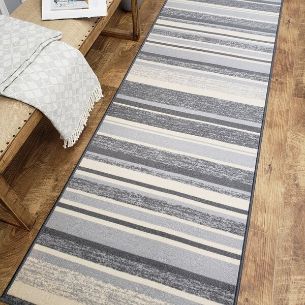 Zlatkus Stripes Rubber Backed Gray Area Rug by Ebern Designs