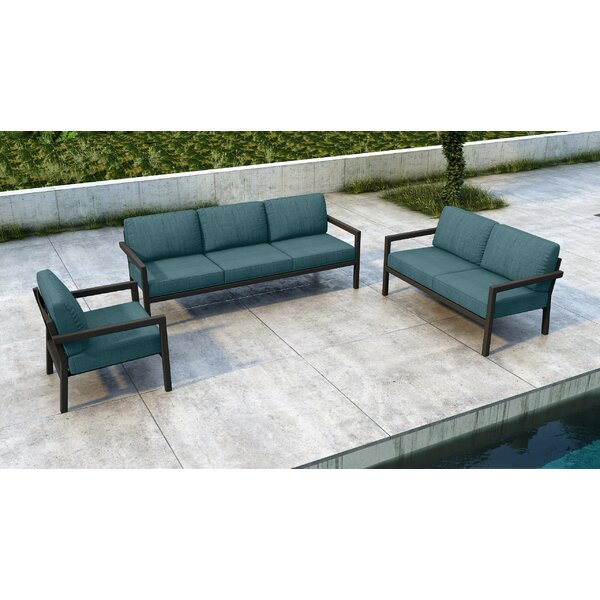 Iliana 3 Piece Sofa Seating Group with Sunbrella Cushions by 17 Stories