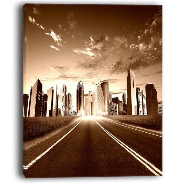 Modern City and Road Cityscape Photographic Print on Wrapped Canvas by Design Art