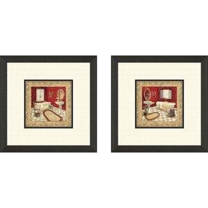 'Bath Salon Rouge' 2 Piece Framed Painting Print Set by Alcott Hill