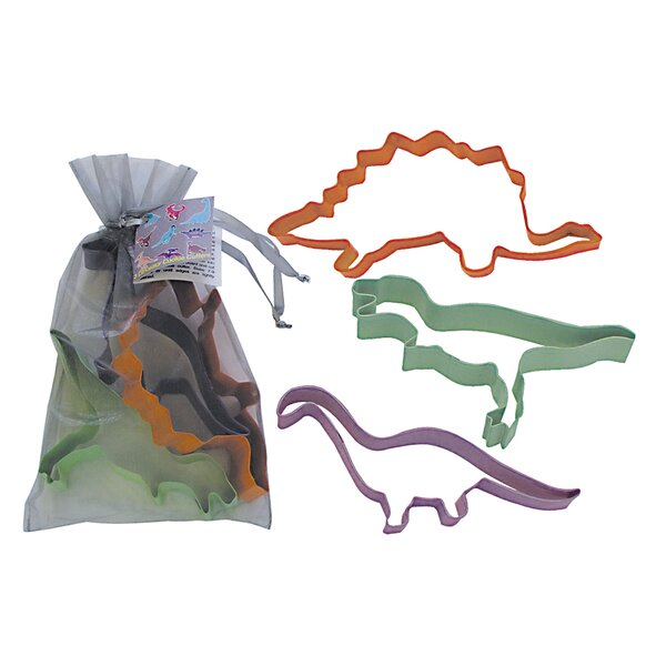 3 Piece Dinosaur Cookie Cutter Set In Bag by R & M International Corp.