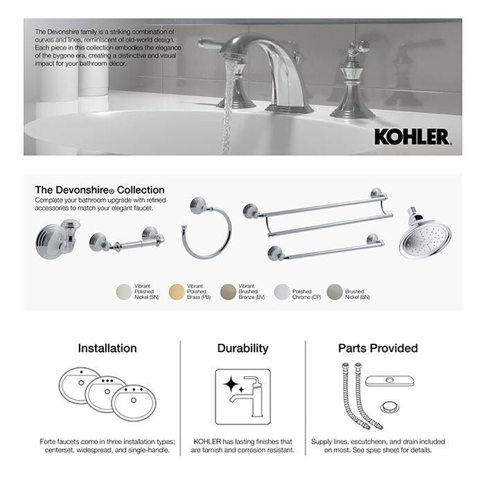 Kohler K-373-CP Devonshire 4-7//16-Inch Non-Diverter Bath Spout Polished Chrome