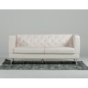 Modern Tufted Eco-Leather Loveseat