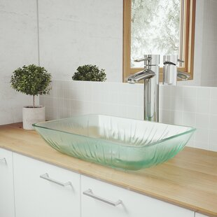 Top Reviews Tempered Glass Rectangular Vessel Bathroom Sink with Faucet By VIGO