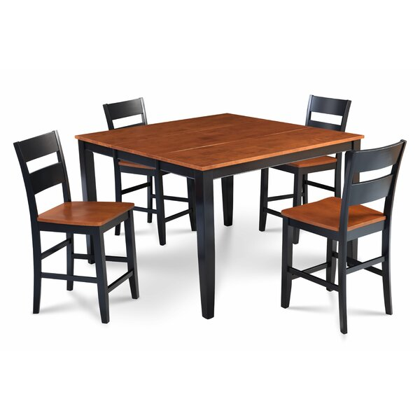Hassen 5 Piece Counter Height Extendable Dining Set by Alcott Hill