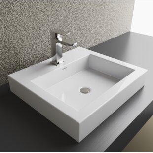 Best Reviews Vitreous China Rectangular Vessel Bathroom Sink with Overflow By Cantrio Koncepts