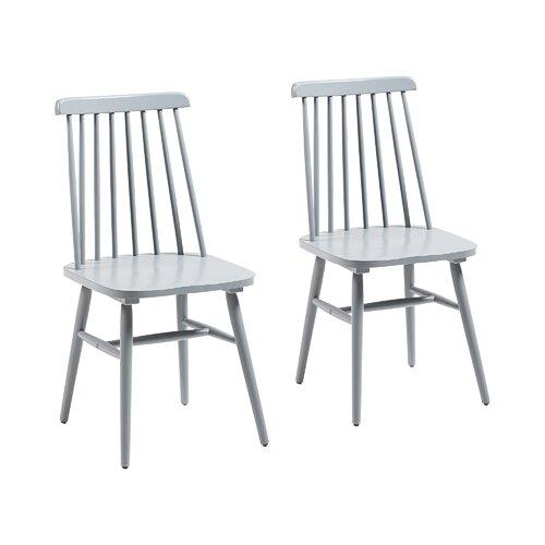 Esszimmerstuhl-Set aus massivem Kautschukholz Kiley (Set of 2) ZipCode Design Farbe: Hellgrau | Küche und Esszimmer > Stühle und Hocker > Esszimmerstühle | ZipCode Design