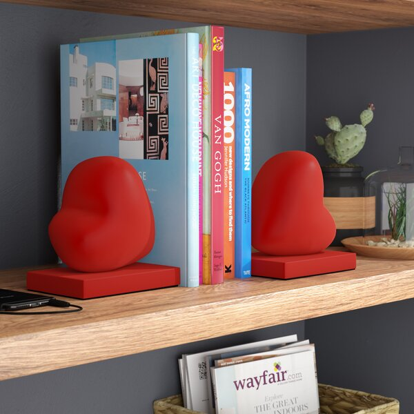 Red Hearts Book End (Set of 2) by Wrought Studio