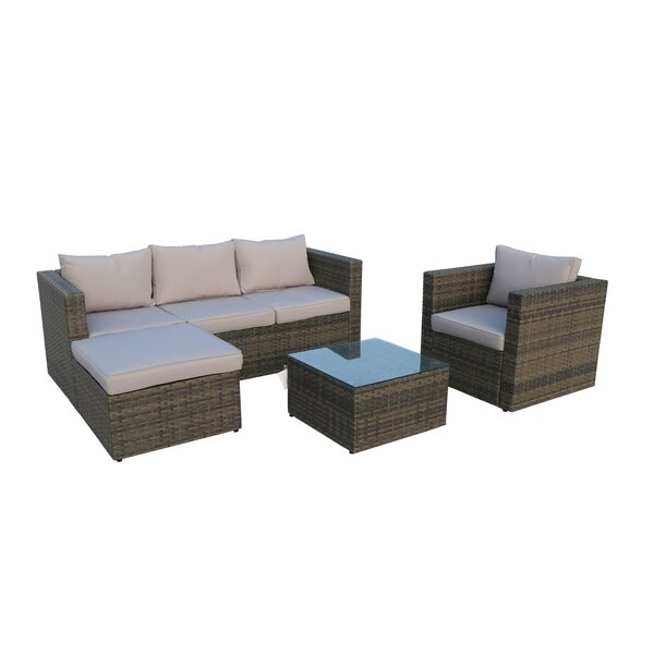 Danville 4 Piece Rattan Sofa Seating Group with Cushions by Ivy Bronx