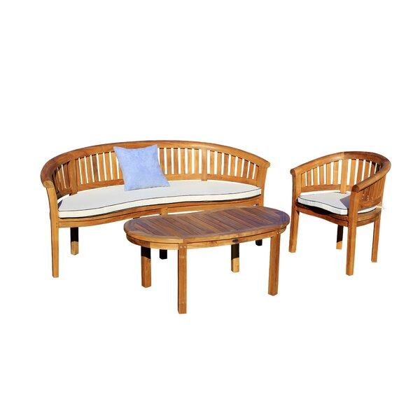 Balhi 3 Piece Teak Sofa Seating Group with Sunbrella Cushions by Loon Peak