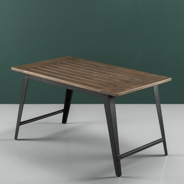 Carle Wood and Metal Dining Table by Williston Forge