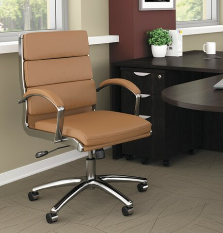 Thistletown High-Back Slim Profile Leather Office Chair by Latitude Run
