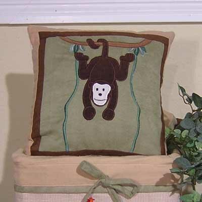 On Safari Monkey Throw Pillow by Brandee Danielle
