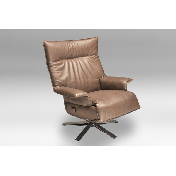 Valentina Leather Manual Swivel Recliner by Lafer Lafer