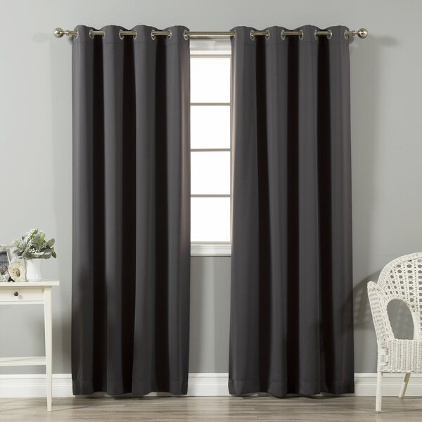 Schaeffer Solid Blackout Thermal Grommet Curtain Panels (Set of 2) by Alcott Hill