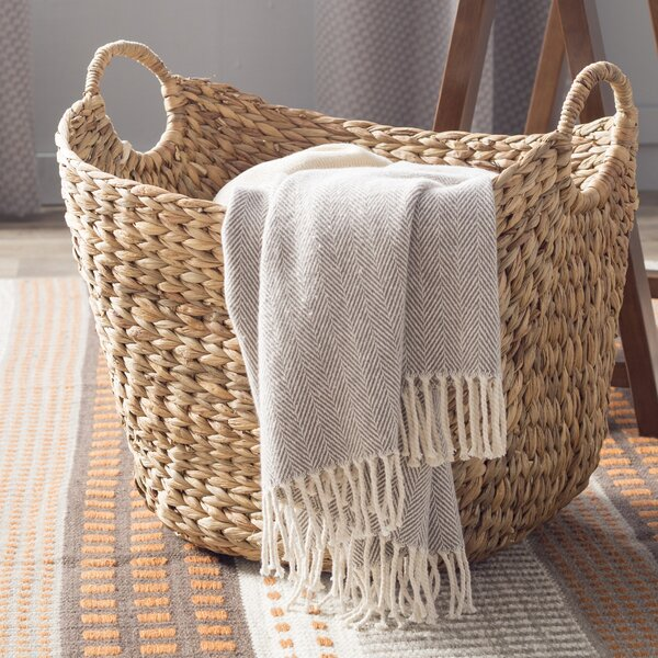 August Grove Theroux Tall Water Hyacinth Wicker Basket