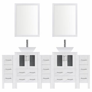 "Modern 96"" Double Bathroom Vanity Set with Mirror"