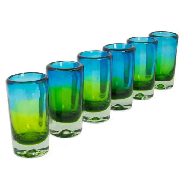 Aurora Tapatia Blown Shot Glass (Set of 6) by Novica