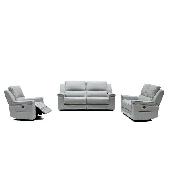 Colmar Reclining Leather 3 Piece Living Room Set by Orren Ellis