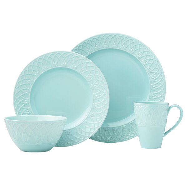 British Colonial Carved Aqua 4 Piece Place Setting, Service for 1 by Lenox