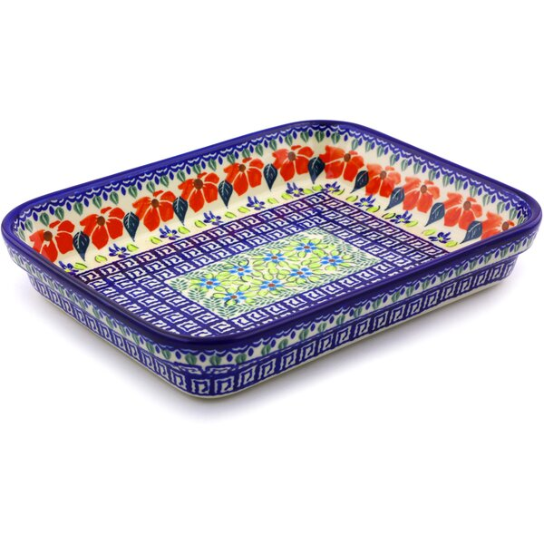 Grecian Fields Rectangular Polish Pottery Baking Dish by Polmedia
