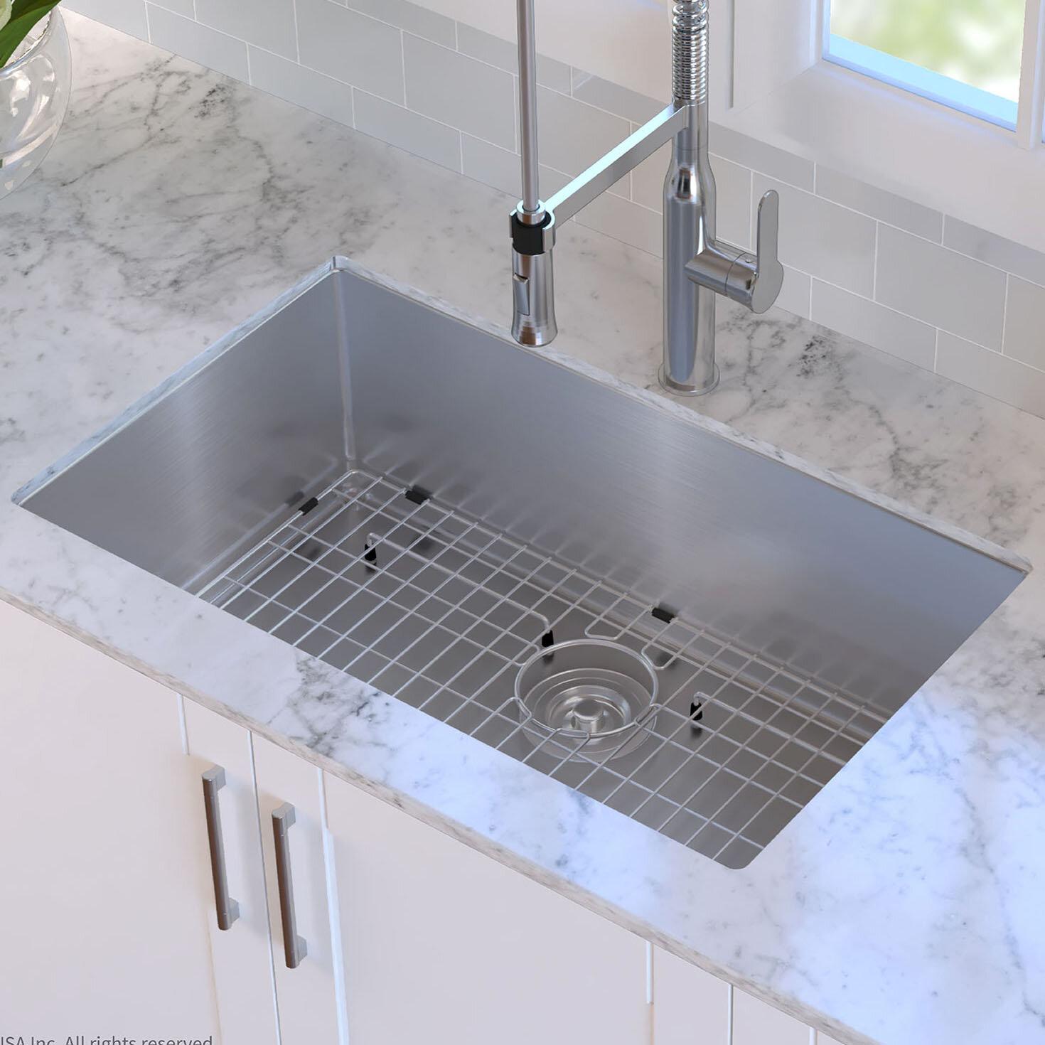 Kraus Standart Pro 30 L X 18 W Undermount Kitchen Sink With Basket Strainer Reviews Wayfair