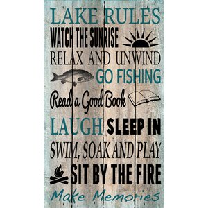 'Lake Rules' by Tonya Gunn Textual Art on Plaque by Artistic Reflections