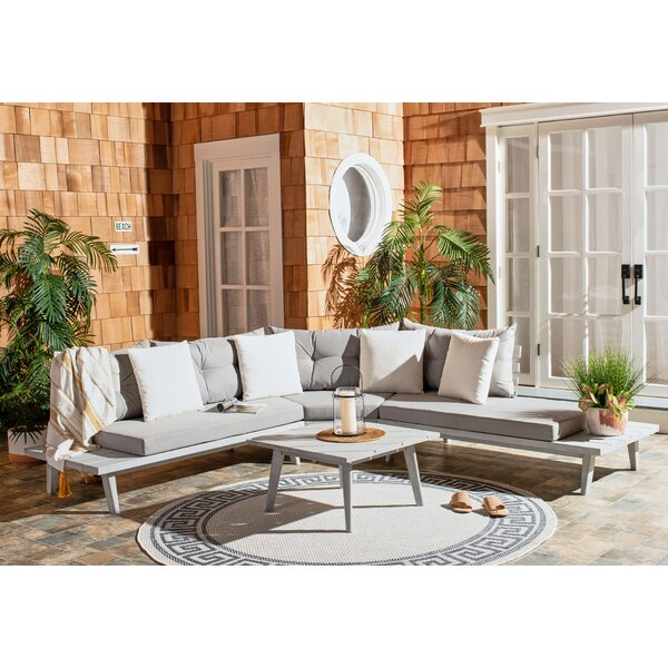 Tess Corner Living Patio Sectional with Cushions by Rosecliff Heights