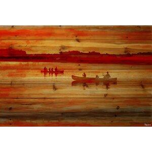 'Sunset Paddle' by Parvez Taj Painting Print on Natural Pine Wood by Parvez Taj