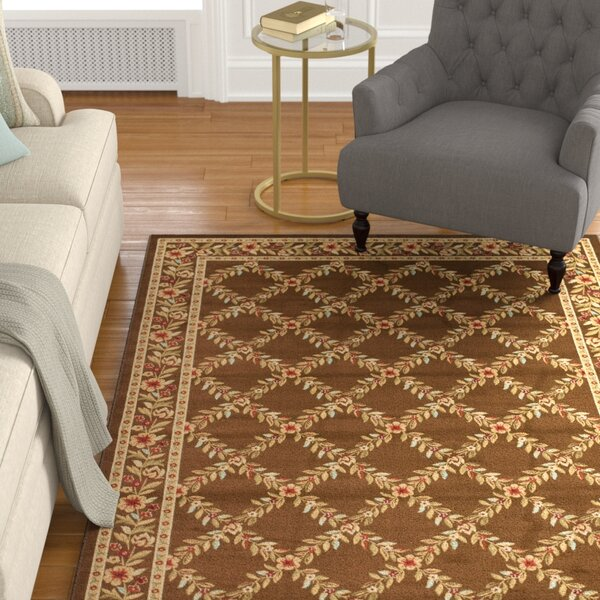 Taufner Brown Checked Area Rug by Astoria Grand