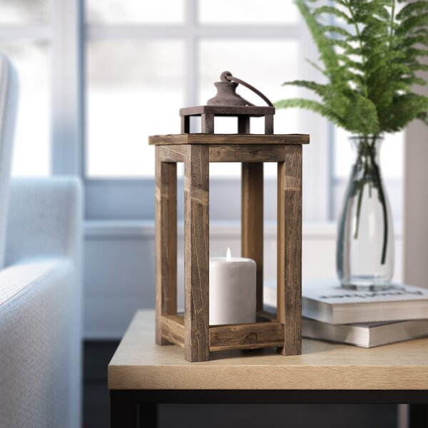 Rustic Pillar Wood Lantern by Laurel Foundry Modern Farmhouse