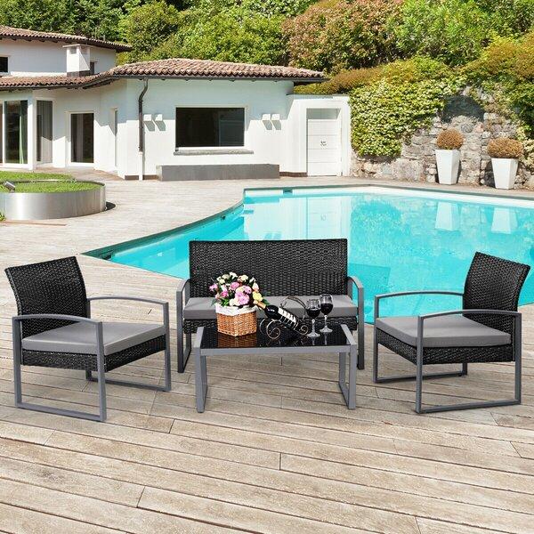 Elisaveta 4 Piece Rattan Sofa Seating Group with Cushions by Latitude Run