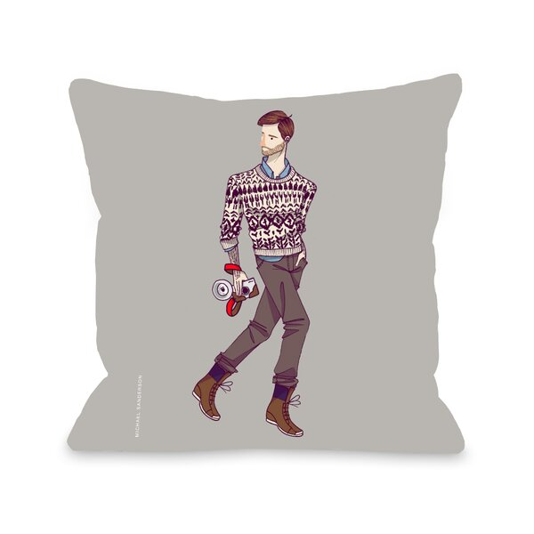 Walk With Camera Throw Pillow by One Bella Casa